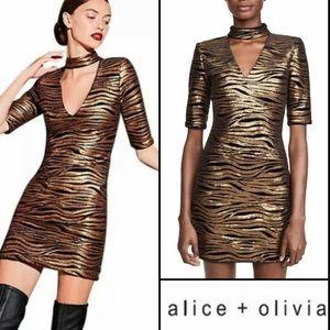 Alice + Olivia Inka Choker Keyhole Zebra Dress XS